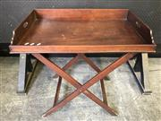 Sale 9048 - Lot 1062 - 19th Century Mahogany Butlers Tray, with a stand, the tray gallery with pierced handles  (80 x 52 cm)