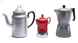 Sale 9123J - Lot 364 - Three stove top coffee makers inc. a red example, largest height 21cm