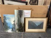 Sale 9087 - Lot 2081 - A group of 3 early landscape paintings of New Zealand and Australia