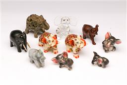 Sale 9107 - Lot 62 - A Collection of Elephant Miniatures inc Glass, Ceramic and Composite Examples (H 6cm)