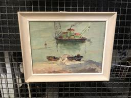 Sale 9147 - Lot 2009 - Artist Unknown Tug Boat with Crane oil on canvas board, 29 x 26 cm (unsigned)