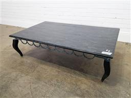 Sale 9174 - Lot 1015 - Faux marble top coffee table (h:47 x w:97 x 90cm)