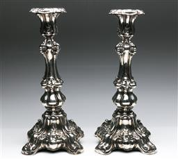 Sale 9175 - Lot 40 - A Large Pair of Gothic Revival Silver Candle Sticks (H:38cm)