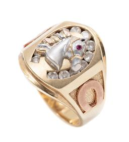 Sale 9246J - Lot 398 - A 9CT TWO TONE GOLD STONE SET HORSE RING; white gold horse head set with a synthetic ruby eye to horse shoe shape surround channel s...