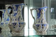 Sale 8014 - Lot 31 - A Pair of Victorian C. Meigh & Sons Graduated Relife Jugs