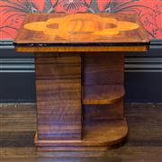 Sale 8222 - Lot 86 - An Art Deco inlaid occasional table with shelves, H 54, W 53cm Film Provenance; Australia, 2008