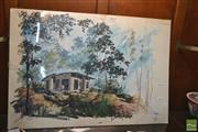 Sale 8214 - Lot 2033 - Tong Cano, Watercolour House study in the woods