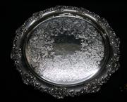 Sale 8298 - Lot 67 - Excellent quality Hardy Brothers silverplated tray with bold grape and vine border. D:30cm