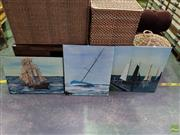 Sale 8613 - Lot 2084 - John Corbett (3 works) Tall Ships at Sea, acrylic on canvas, signed lower (various sizes) -