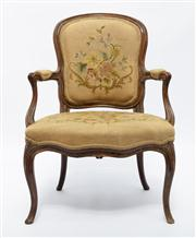 Sale 8660A - Lot 12 - A French beechwood Louis XVI period arm chair in hand woven tapestry C: 1780. Condition comensurate with age, mostly original unrest...