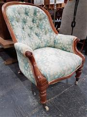 Sale 8740 - Lot 1625 - Victorian Mahogany Armchair, with spoon shaped & buttoned back, raised on turned legs