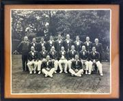 Sale 8913 - Lot 63 - 1938 Australian Cricket Team Ashes Touring Squad Photograph, signed by all including Bradman (36cm x 29cm)