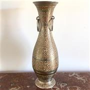 Sale 8878T - Lot 73 - Indian Silvered Metal Vase with Enamelled Floral Detail and Twin Hooped Handles  Height - 35cm