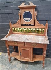 Sale 9009 - Lot 1076 - Victorian Marble Top Wash Stand with Tiled Back (h:1545 x w:107 x d:60cm)