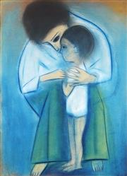 Sale 9067 - Lot 536 - Robert Dickerson (1924 - 2015) - Mother & Daughter 75.5 x 54.5 cm (frame: 106 x 83 x 4 cm)
