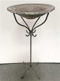 Sale 9102 - Lot 1257 - Scrolled Metal Plant Stand with Tiled Birdbath Top (h:106 w:45cm)