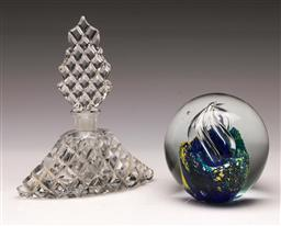 Sale 9119 - Lot 86 - A cut glass scent bottle (H: 15cm) and a paperweight