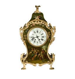 Sale 9123J - Lot 166 - A fine large antique French clock with gilt bronze highlights and hand painted designs on a green background. Fully restored with ke...