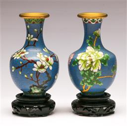 Sale 9128 - Lot 22 - Pair of cloisonne vases on timber stands (H:16cm) together with a pair of napkin rings (Dia:4.5cm) and a sectional container (H:8cm)