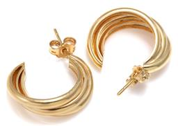 Sale 9156J - Lot 344 - A PAIR OF 18CT GOLD EARRINGS; each a 7mm wide triple hoop to a post and butterfly fitting, length 20mm, wt. 3.92g.