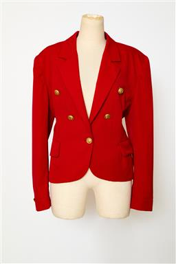 Sale 9095F - Lot 63 - A Christian Dior red wool suit Jacket, with gold Christian Dior buttons. Size 12.