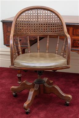 Sale 9190H - Lot 259 - Timber framed captains chair with cane backing and padded seat, (h:95 x w:55 x d:43cm)