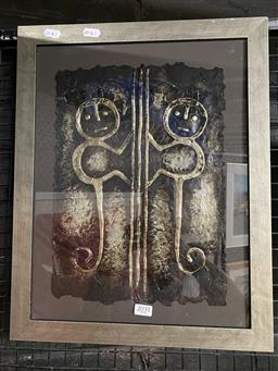 Sale 9176 - Lot 2031 - Nativo Two Monkey mixed media, frame: 47 x 37 cm, signed lower right -