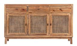 Sale 9250T - Lot 90 - A fruitwood buffet with 3 woven panelled doors and 3 drawers in tobacco. Height 82cm x Width 140cm x Depth 40cm