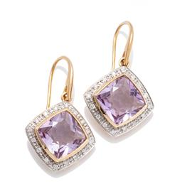 Sale 9253J - Lot 459 - A PAIR OF 9CT GOLD AMETHYST AND DIAMOND EARRINGS; each centring a cushion cut amethyst to surround of 16 round brilliant cut diamond...