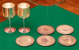 Sale 9260M - Lot 34 - A set of 5 Strachan wine coasters together with 2 small Strachan goblets