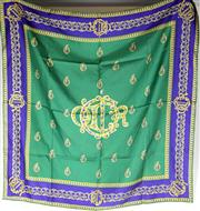 Sale 8134B - Lot 350 - A CHRISTIAN DIOR SCARF; in green and purple, 90 x 90cm.