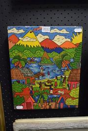 Sale 8346 - Lot 2032 - South American Naive Painting by an Unknown Artist, acrylic on canvas, 31 x 25cm, signed lower right.