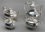 Sale 8444A - Lot 12 - An excellent quality antique English Walker and Hall silverplate four piece tea and coffee service with half fluted decoration, c190...