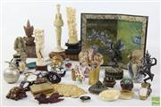 Sale 8473 - Lot 25 - Bone and Resin Oriental Figures Together with Other Items inc Miniature Japanese Screen