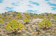 Sale 8519 - Lot 512 - Hugh Schulz (1921 - 2015) - Wattle Time in Outback Hills 40 x 60cm