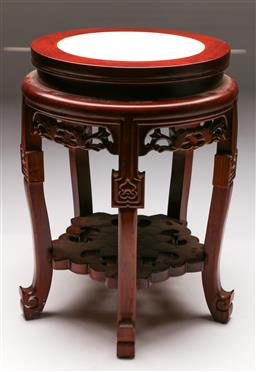Sale 9128 - Lot 96 - A Chinese timber stand with marble insert top (H 45cm Dia 30cm, small chip to foot)