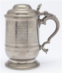 Sale 9099 - Lot 35 - A dunhill pewter lidded tankard. Height 16cm