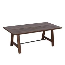 Sale 9250T - Lot 91 - A solid fruit wood timber dining table with metal stretcher base featuring two piece timber top timber. Height 76cm x Width 200cm x...