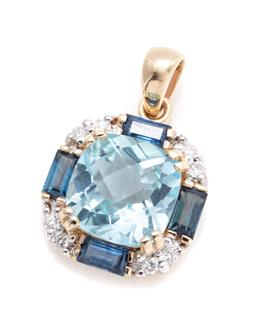 Sale 9253J - Lot 309 - A 9CT GOLD TOPAZ SAPPHIRE AND DIAMOND PENDANT; centring a cushion chequerboard cut blue topaz to surround of 8 round brilliant cut d...