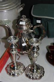 Sale 8261 - Lot 37 - Silver Plated Pair of Candlesticks with a Hot Water Pot