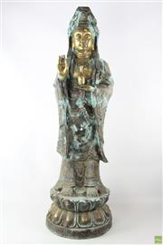 Sale 8563 - Lot 195 - Large Brass Figure Of Guanyin With Verdigris Finish