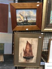 Sale 8811 - Lot 2047 - 2 Works: Harris - Sailing Ship, watercolour, SLR & Artist Unknown - Sailing, oil on canvas