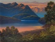 Sale 9030 - Lot 585 - James Hutchings (1872 - 1962) - Sunset on Milford Sounds, South Island, New Zealand 40 x 51 cm (frame: 61 x 72 x 3 cm)