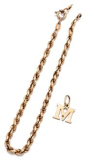 Sale 9090J - Lot 305 - A GOLD ROPE BRACELET AND CHARM, 14ct bracelet with bolt ring clasp (chain broken), length 19.5cm, wt. 2.93g, together with a 9ct M c...