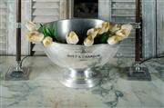 Sale 9087H - Lot 70 - Vintage French polished pewter 'Moet and Chandon' champagne bowl 21 x 37 cm