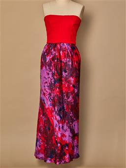 Sale 9093F - Lot 8 - A bianca spender silk off the shoulder evening dress with red bodice, zip up at the back, size small