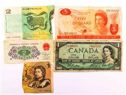 Sale 9110 - Lot 314 - New Zealand $5 Bank note, $1 Canada Bank note, another Bank note & 2 Part notes