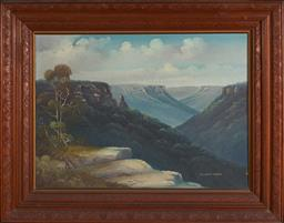 Sale 9123 - Lot 2020 - Artist Unknown Jamieson Valley, oil on board, (a.f), frame: 75 x 95 cm, -