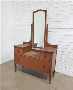 Sale 9146 - Lot 1045 - Oak 3 Drawer Chest with Mirror