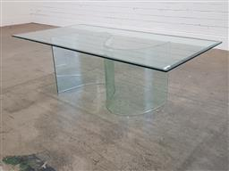 Sale 9188 - Lot 1238 - Glass coffee table with S base (h44 x w130 x d70cm)